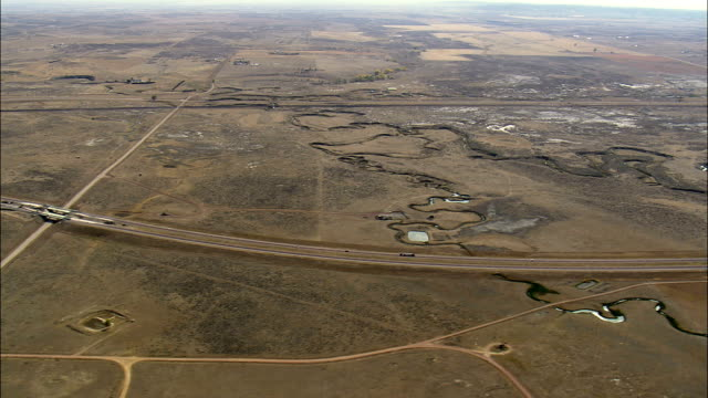 Interstate 90 East Of Gillette  - Aerial View - Wyoming, Campbell County, United States