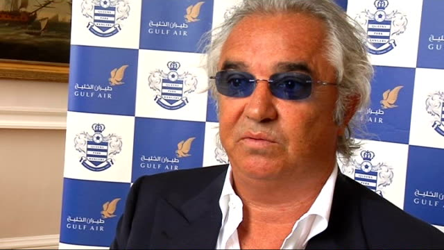 Interview Flavio Briatore 3708 London Somerset House INT Flavio Briatore Queens Park Rangers FC chats to reporter SOT Briatore interview SOT...