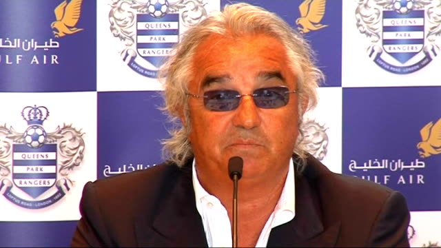 Interview Flavio Briatore Briatore press conference SOT Does not believe money buys success but need money for QPR project/Before investment QPR was...