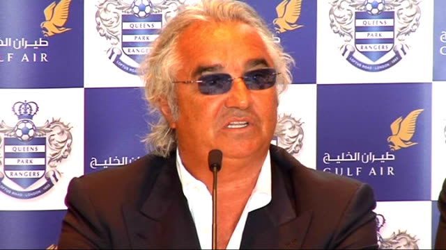 Interview Flavio Briatore Briatore press conference SOT QPR longterm project/Need pateince from everyone including sponsor/Sport unpredictable/Wants...