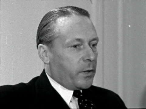 Interview on the future of petrol rationing ENGLAND London Ministry of Transport INT Harold Watkinson MP interview SOT Petrol rationing won't...