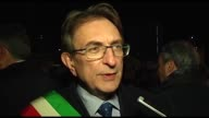 Interview to Mayor of L'Aquila Massimo Cialente during a torchlight procession for earthquake victims in L'Aquila Italy April 5 2017 on the eve of...
