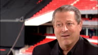 London Wembley EXT Al Gore interview SOT I think music reaches people in a way that no other medium does / And this is going to be largest concert of...