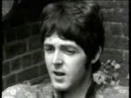 Interview with Beatles member Paul McCartney set in garden following his admission that he has taken drugs interviewer asks how many times has he...