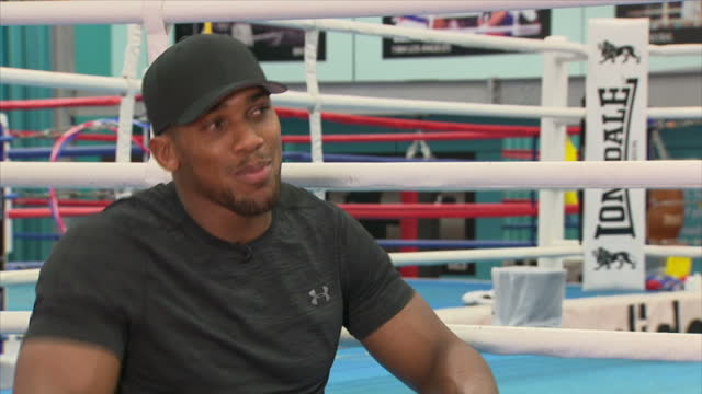 Interview with British professional boxer Anthony Joshua on his security at English Institute of Sport Sheffield on October 6th 2017