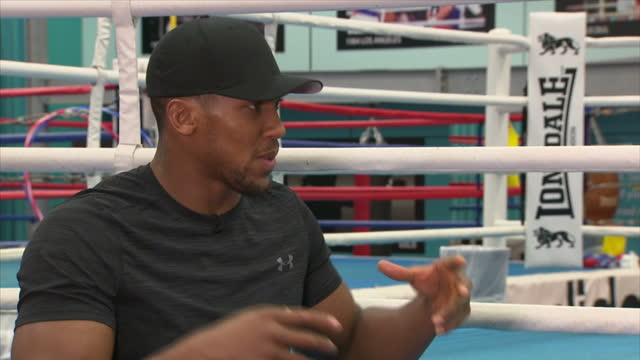 Interview with British professional boxer Anthony Joshua on his focus of becoming a better boxer at English Institute of Sport Sheffield on October...