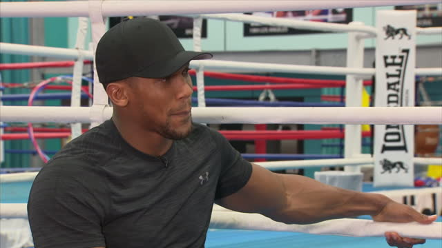 Interview with British professional boxer Anthony Joshua on preparing for match against Kubrat Pulev at English Institute of Sport Sheffield on...