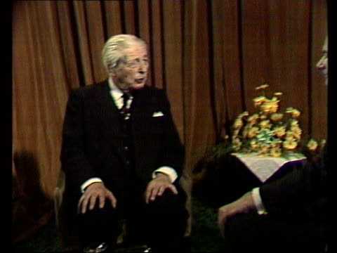 Interview with Harold MacMillan on the EEC ENGLAND Studio MS Harold MacMillan former Conservative Prime Minister SOF 'Well it's not IN 'except hope...