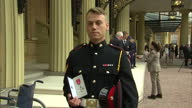 Interview with Lc Cpl Lewis Treloar on why he is receiving his MBE and meeting the queen Investitures Today at Buckingham Palace at Buckingham Palace...