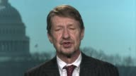 Interview with satirist P J O'Rourke about Donald Trump USA Washington DC Rourke interview SOT He's a strange mixture of cunning cleverness and...