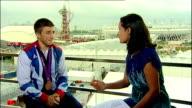 Interview with Team GB gymnastic medallist Sam Oldham ENGLAND London Stratford Olympic Park INT Sam Oldham LIVE STUDIO interview SOT