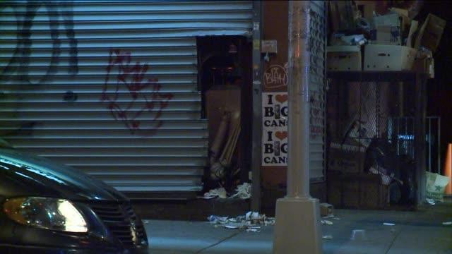 NYPD investigate the crime scene of a stolen ATM in Willamsburg Brooklyn