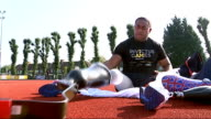 Invictus Games opening ceremony People along arriving at Invictus Games Derenalagi putting racing blades on prosthetic limbs Lance Corporal Derek...