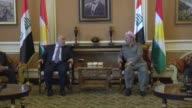 Iragi Prime Minister Haider alAbadi is welcomed by the President of Kurdish Regional Government Masoud Barzani and KRG Prime Minister Nechervan...