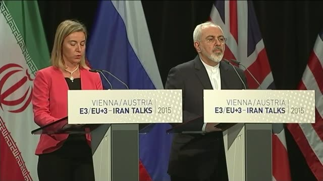 Historic agreement reached AUSTRIA Vienna Kerry Hammond Zarif and Mogherini arriving at press conference Zarif and Mogherini chatting on stage...