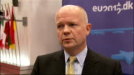 Iran threatens to close Strait of Hormuz after diplomatic row with EU BELGIUM Brussels INT William Hague MP interview SOT Right to do this in view of...