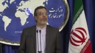 Iran's Foreign Ministry spokesman Hossein Jaber Ansari talks about the IranSaudi Arabia relations during the weekly press conference at the Foreign...