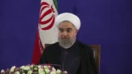 Iran's newly reelected President Hassan Rouhani holds a press conference on May 22 2017 in Tehran Iran