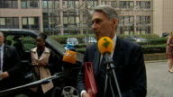 Philip Hammond interview BELGIUM Brussels EXT Philip Hammond MP along and interview SOT We're going to discuss the situation in Ukraine Gaza and Iraq...