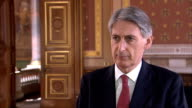 Pilip Hammond interview ENGLAND London Foreign Office Philip Hammond MP interview SOT