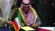 Iraqi Foreign Minister Ibrahim AlJaafari and Kuwaiti Foreign Minister Sabah alKhalid alSabah attend their bilateral meeting in Baghdad Iraq on...