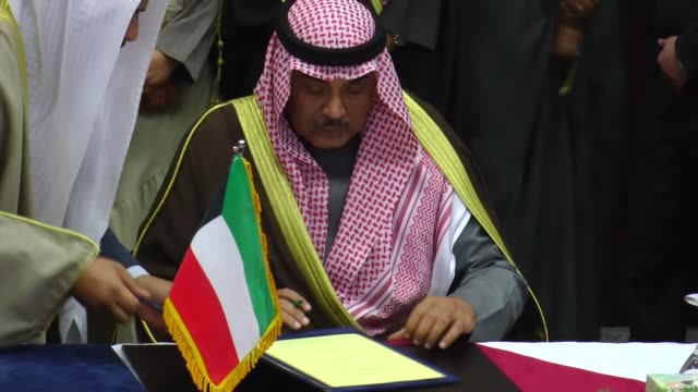 Iraqi Foreign Minister Ibrahim AlJaafari and Kuwaiti Foreign Minister Sabah alKhalid alSabah attend their bilateral meeting in Baghdad Iraq on...