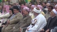 Iraqi Kurdish leader Massud Barzani visited the Iraqi town of Bashiqa to meet Muslim Christian and Yazidi religious leaders