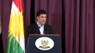 Iraqi Kurdish Regional Government Prime Minister Nechirvan Barzani holds a press conference after casting his ballot in the Kurdish independence...