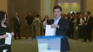Iraqi Kurdish Regional Government Prime Minister Nechirvan Barzani casts his ballot in the Kurdish independence referendum at a polling station in...