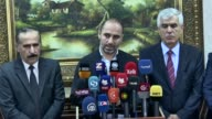Iraqi Kurdistan Regional Government 's minister for the Agriculture and Water Resources Abdulstar Majeed delivers a speech during a press conference...