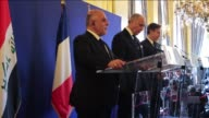 Iraqi Prime Minister Haider alAbadi French Foreign Affairs Minister Laurent Fabius and US Deputy Secretary of State Antony J Blinken attend a joint...