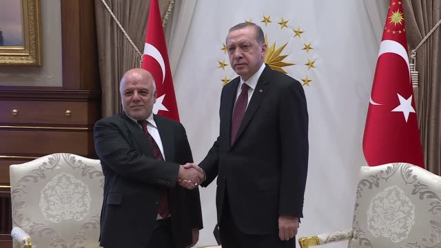 Iraqi Prime Minister Haider alAbadi is received by Turkish President Recep Tayyip Erdogan at presidential complex in Ankara Turkey on October 25 2017