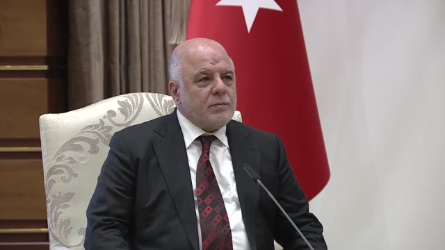 Iraqi Prime Minister Haider alAbadi speaks to the media following his meeting with Turkish President Recep Tayyip Erdogan at presidential complex in...