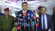 Iraq's Minister of Migration and Displacement Jassim Mohammed AlJaff held a press conference about Mosul offensive in Baghdad Iraq on January 25 2017...