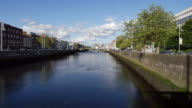 Ireland Dublin River Liffey with clouds in blue sky
