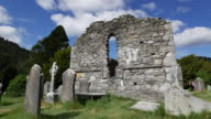 Ireland Glendalough Celtic monastery cathedral zoom and pan