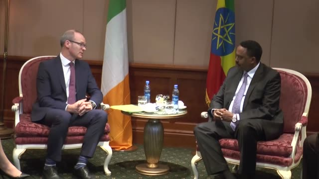 Irish Foreign Affairs and Trade Minister Simon Coveney meets with Ethiopian Minister of Foreign Affairs Workneh Gebeyehu in Addis Ababa Ethiopia on...