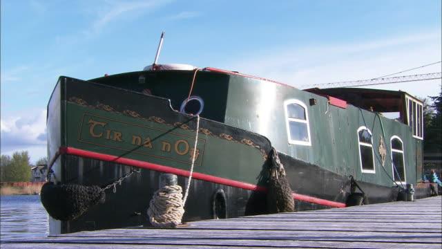 Irish river boat moored in close up., Northern Ireland