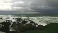 Irish sea wave smashing the rocks,Northern Ireland