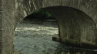 WS ZO Irish stream flowing under stone bridge / Rathdum, Ireland