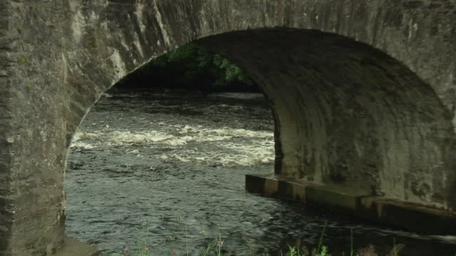WS ZO Irish stream flowing under stone bridge / Rathdum, Ireland