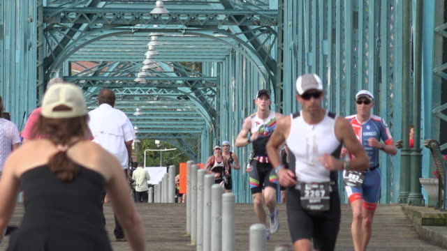 Ironman Running Crossing the Bridge in Chattanooga, TN, the 2015 Top Ranked America Outdoor Living City
