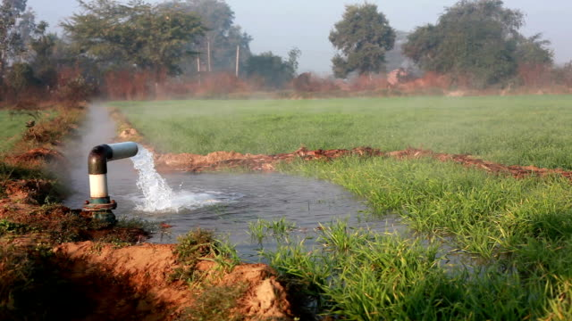 Irrigation pipe with flowing water
