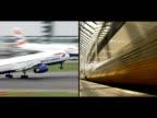 Is a train to Paris quicker than a plane SPLIT SCREEN of plane landing and train leaving platform