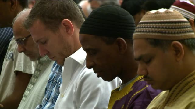 Islamic People Participating in Eid Prayers on August 08 2013 in San Diego California