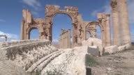 Islamic State extremists blow up the famous Arch of Triumph in the ancient Syrian city of Palmyra an activist and monitoring group say