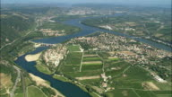 AERIAL, Island on river Rhone, Rhone-Alpes, France