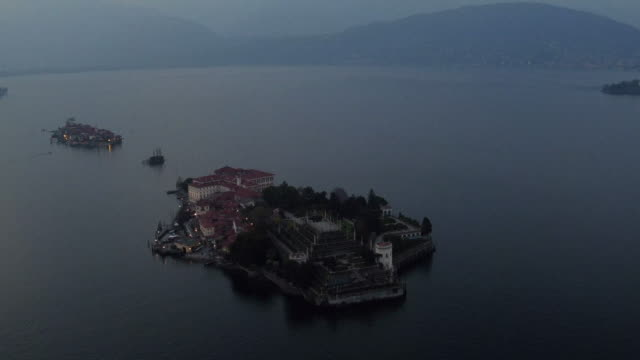 Isola Bella on Lake Maggiore from bird view