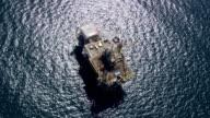 HA TS isolated single oil rig in Pacific Ocean, San Pedro Bay / Long Beach, California, United States.
