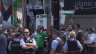 Israel supporters and propalestine groups gathered on opposing sides of the street to protest violence on the Gaza Strip on July 22 2014 in downtown...